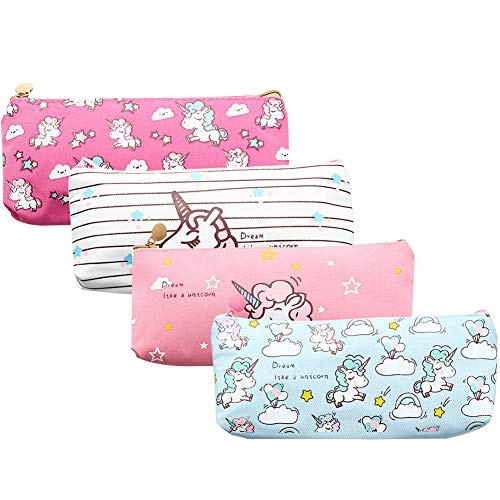 Unicorn Pen Holder Makeup Bag Organizer Canvas Pouch Zipper Stationery Purse Cute Portable Cosmetic Bags Travel Small Brush Storage Case 4Pcs (Unicorn)