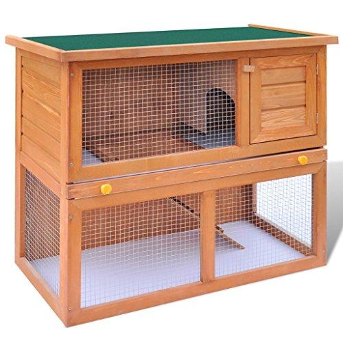 Festnight Conejera para Mascotas Juala de Madera para los Animales Pequeños Conejera De Exterior 90 x 45 x 80 cm