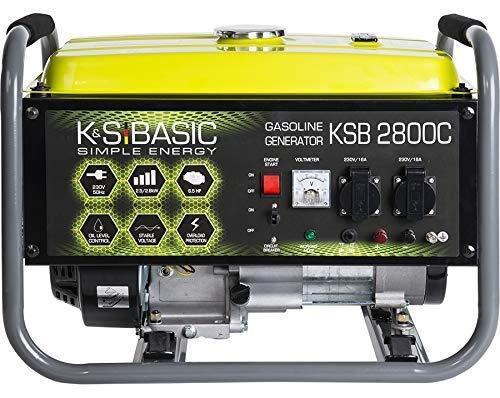 KS BASIC 2800C Stromerzeuger, 6,5 PS 4-Takt Benzinmotor, Kupfer Alternator, Automatischer Spannungsregler (AVR), 2800 Watt, 16A, 230V Generator, für den Heim- und Freizeitbedar