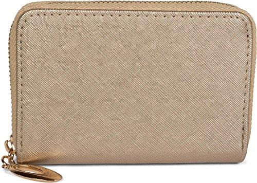 styleBREAKER kleine Geldbörse mit glänzender Oberfläche und Struktur Muster, Reißverschluss, Portemonnaie, Damen 02040103, Farbe:Gold