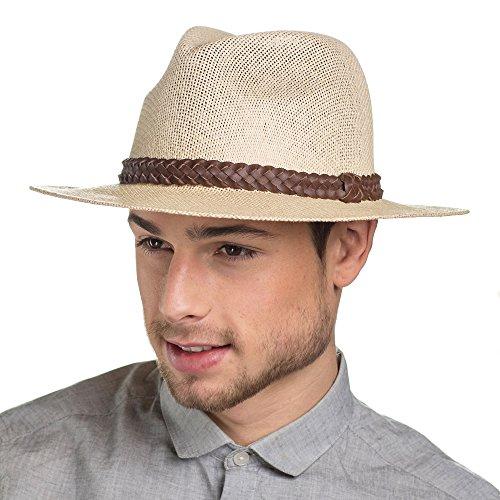 I-Smalls Chapeau Fedora Borsalino Structuré avec Corde Style Classique Homme (58) Naturel