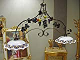Lampadario bilanciere rustico ferro battuto con limoni e mandarini ceramica traforata di Caltagirone Ø30 decorata a mano