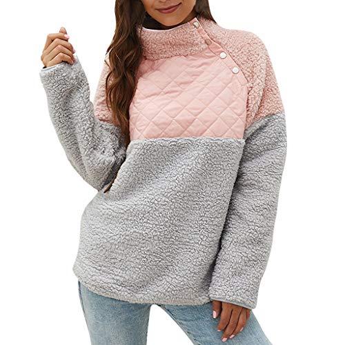 TWGONE Fleece Pullover Women Sherpa Mock Neck Top Long Sleeve Warm Button Geometric Pattern Sweatshirts (X-Large,Pink)
