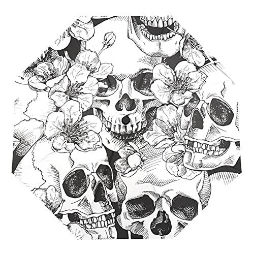 GYY Skull Resistente Al Viento Paraguas Automáticas De Lluvia Mujer Tres Paraguas Plegables para Hombres Paraguas Al Aire Libre A Prueba De Viento (Color : Skull Umbrella)