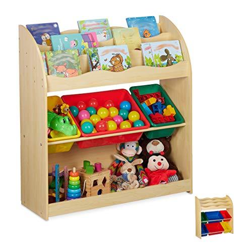 Relaxdays Infantil con 3 Cajas de Almacenamiento, Baja estantería para Juguetes, MDF, plástico, 89 x 82,5 x 32 cm, imitación de Madera, 1 Unidad