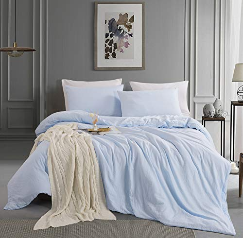 Alazuria Bedding Duvet Cover 3 Piece Set - Natural Wrinkled Style 100% Pre-Washed Microfiber, Super Soft, Breathable with Zipper Closure (1 Duvet Cover + 2 Pillow Cases) Amalfi Blue, King