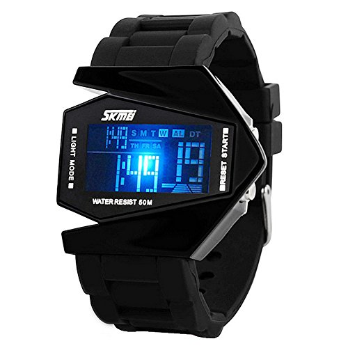 YAHE SKMEI Cool LED Aircraft Fighter Silicone Sports Waterproof Digital...