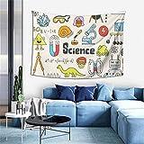 Tapices de pared arte de la escuela de ciencia Doodle Set de tapiz estético para colgar en la pared del hogar, decoración para dormitorio, sala de estar, decoración de dormitorio de 156 x 100 cm
