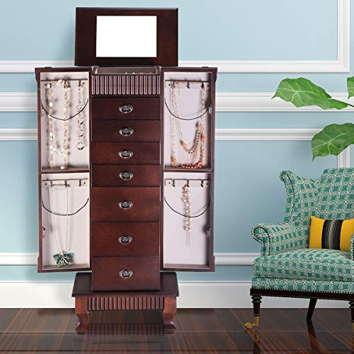 GentleShower Jewelry Cabinet with Mirror Jewellery Box Organizer Wooden Jewelry Storage Armoire Hanging 7 Drawers Large Capacity