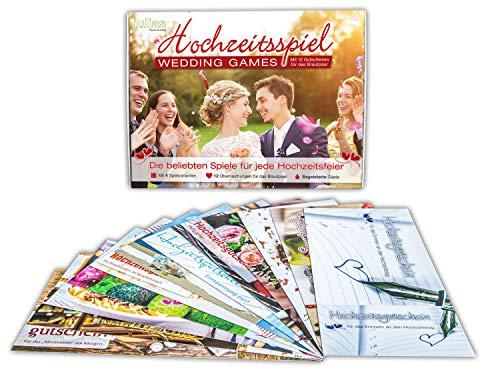 Hochzeitsspiel - Wedding Games - Hochzeitsgutscheine für das Brautpaar - Die lustigen Hochzeits-Spiele - 4 Spielmöglichkeiten für jede Hochzeitsfeier. Gastgeschenk 12 Gutscheine für das Brautpaar