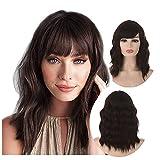 Brown Bob Wig with Bang | Qaccf Short Wavy Shoulder Length Women Full Bang Synthetic Women Curly Bob Brunette Realistic Wig (Chocolate)
