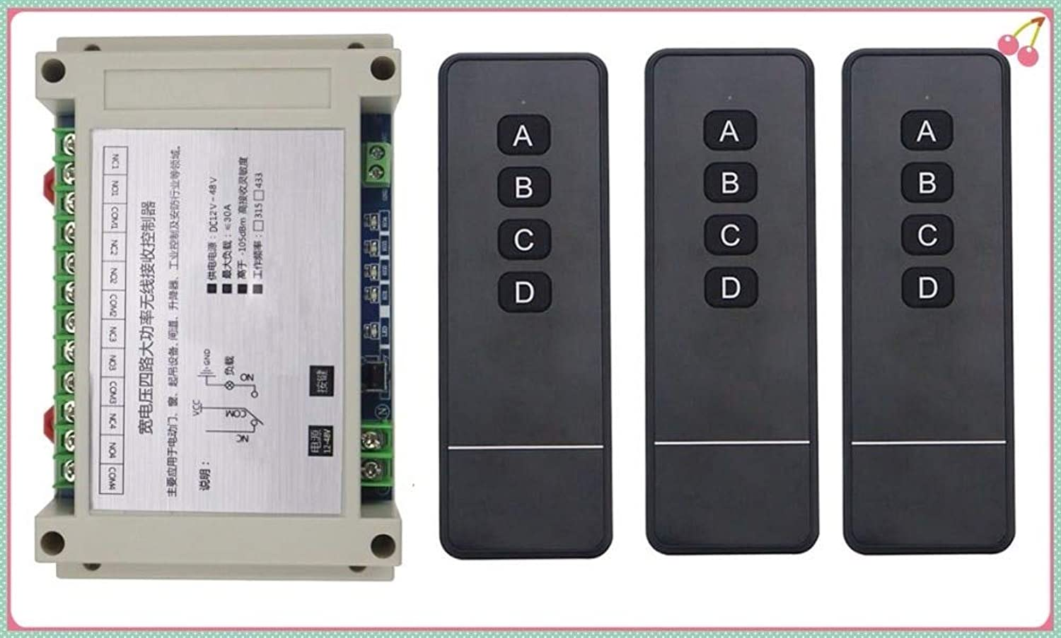 DC12V 24V 36V 48V 4CH RF Wireless Remote Control Relay Switch Security System Garage Doors, Electric Doors Window lamp 3Remote