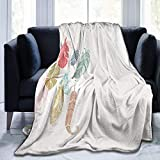 TEGUJ Manta de forro polar de franela, imagen inspirada en étnica con plumas de pájaro de varios colores, diseño retro gitano, suave manta de microfibra