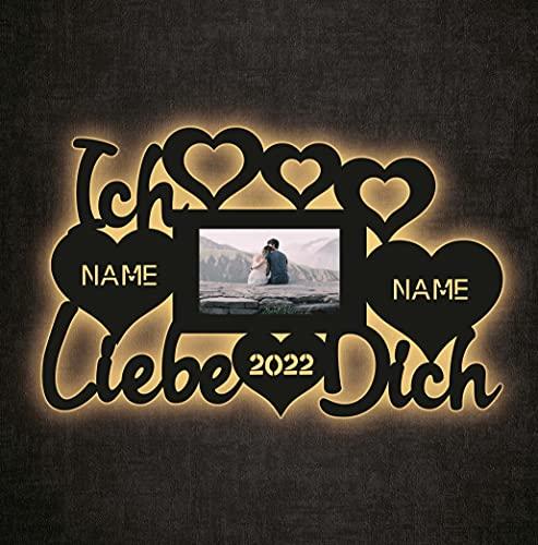 deko Schlummerlicht Nachtlicht Ich liebe dich Herzen mit Bilderrahmen, Herzchen Herz personalisiert mit Wunsch Namen liebe led