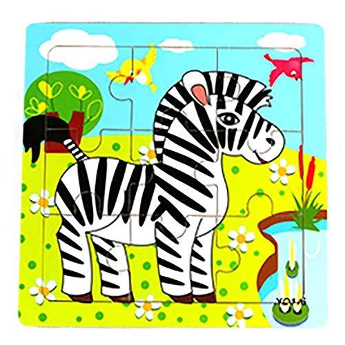Hosaire 1x Rompecabezas de Madera Diseño Animal de Dibujos Animados Puzzles Infantiles Juguetes para niños de 2 a 5 años Juego Aprendizaje Educativo de Rompecabezas Regalos de Cumpleaños(Cebra)