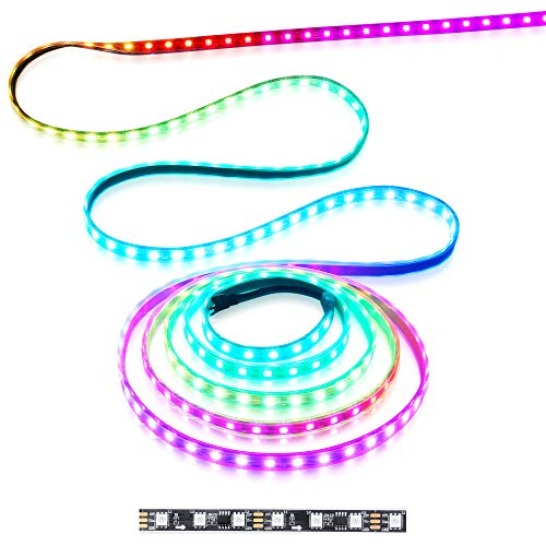 WS2811 Addressable LED Strip Light 5050 RGB 16FT 300 SMD (100 Pixels) Dream Color Waterproof IP67 Black PCB 12V DC