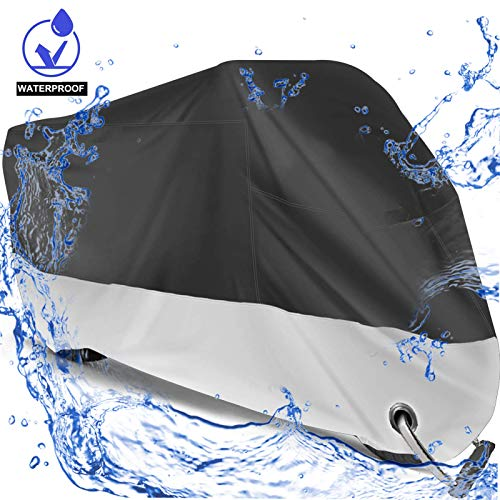 Big Ant Waterproof Motorcycle Cover,Breathable Sun Snow Bike Motors Cover Custom Fit Motorcycle Up to 108 Inches Motors (XX Large & Lockholes)