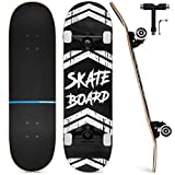 Upgraded Skateboards for Beginners, 31'x8' Complete Skateboard for Kids Teens & Adults, 7 Layer Canadian Maple Wood Double Kick Deck Concave Standard and Tricks Skateboard with All-in-1 Skate T-Tool