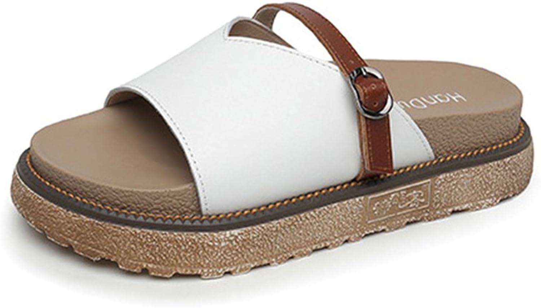 Mubeuo Women's Fashion Leather Sandles Slide Sandals