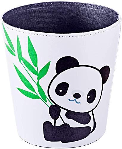 JUNGEN Papeleras de Infantil Cubo de Basura de Cuero PU con Dibujos Animados Patrón de Panda Decoración Bote de Basura para Cocina Dormitorio Oficina Habitación Organizador de Basura (Blanco)