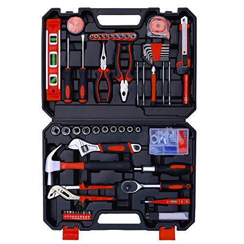 Hausse Home Household Tool Kit, 118 Pcs General Repair Tool Kit with Hammer, Pliers, Screwdriver Set, Home Maintenance with Plastic Toolbox Storage Case, Perfect for Homeowner, Diyer, Handyman