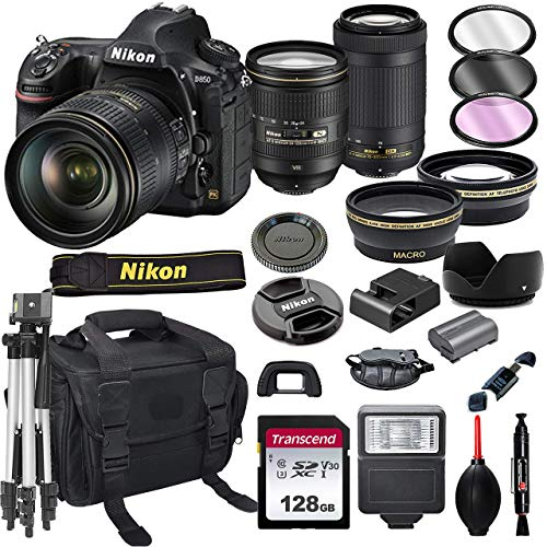 Nikon D850 DSLR Camera with 24-120mm VRand 70-300mm Lens Bundle + 128GB Card, Tripod, Flash, and More (21pc Bundle) (Renewed)