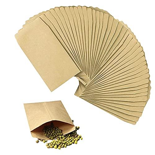 Rayong 100 Stück Mini Papiertüten 6 * 10 cm Kraftpapiertüten Klein Mini Papierbeutel Samentütchen für Süßigkeiten Samen Hochzeit Geschenke Party Geburstag