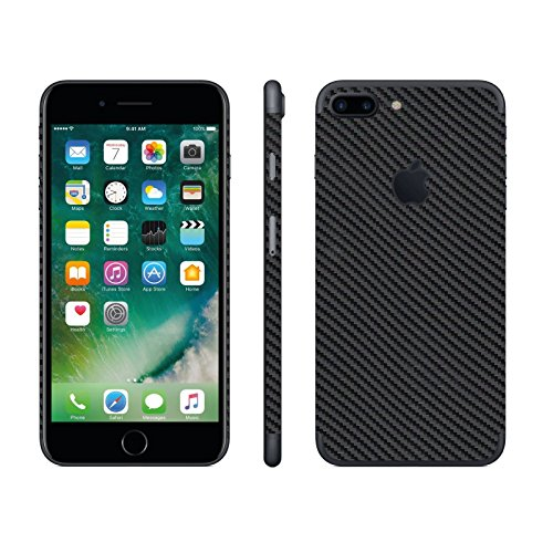 stika.co Pegatina de Piel Negra de Fibra de Carbono Vinilo Autoadhesivo para Apple iPhone 7 Plus 5.5' Model