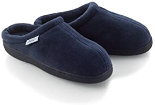 Home-X Memory Foam Slippers. Navy Blue (Small - Fits women's 6 1/2-8 1/2; men's 6-7)