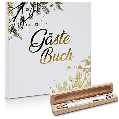 SaMaStyle Gästebuch Hochzeit Set 3 in 1 - Modernes Gästebuch 100 Seiten inkl. Stift und Holzetui -...