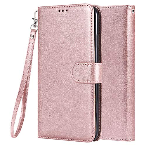 LEMORRY Carcasa para Apple iPhone 6Plus/7Plus/8Plus Funda Estuches Multifuncional Piel Cuero Billetera Cover Tarjeteros Protector Magnética Suave TPU Silicona Tapa Funda para iPhone 6 Plus (Oro Rosa)