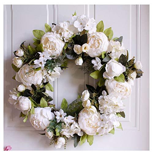 GuoCu Corona de Peonía Blanca de Flores Artificiales,Guirnalda Redonda Decoración para la Puerta de Entrada, Boda, decoración del hogar Leche Blanca diámetro 40cm