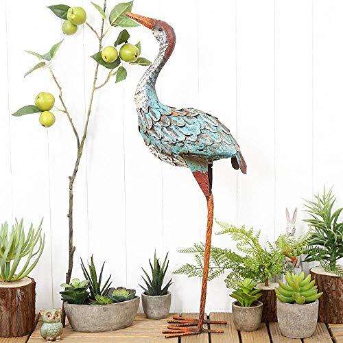 DZX EIN Garten Kran Ornament Rustic rostiges Metall Vintage Style Quirky Tier, Grün + High22inch,Gartendekorationen für Zaun