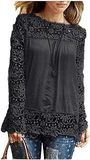 CUCUHAM Fashion Womens Long Sleeve Shirt Casual Lace Blouse Loose Cotton Tops T Shirt
