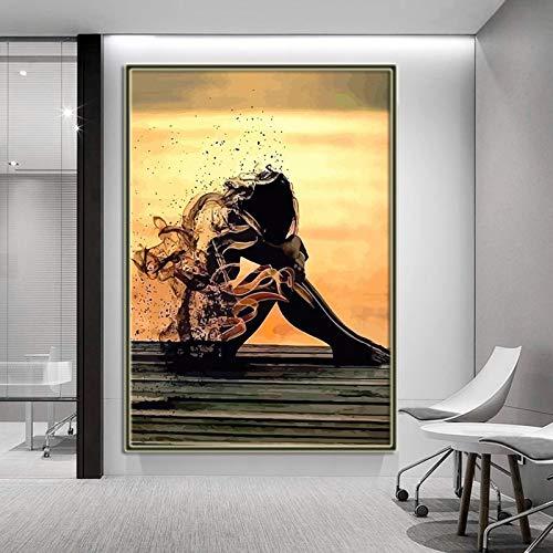 Arte moderno Chica en lienzo Marco de arte de pared Cuadro Lienzo Pintura Carteles e impresiones Sala de estar Decoración del hogar 29.7x42cm (11.7x16.5in) Marco interno