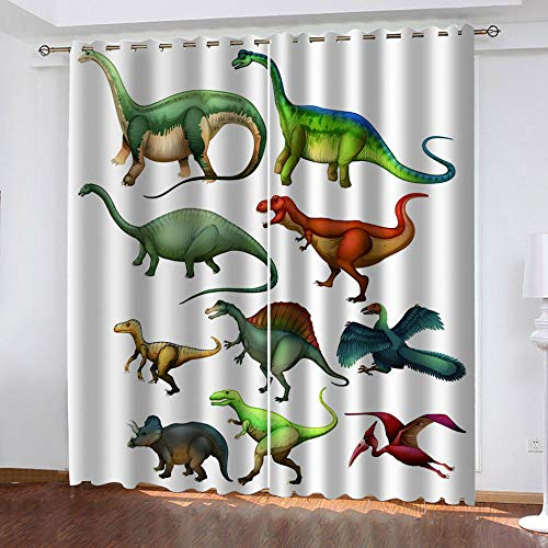 MUXIAND gordijn verduisterende voeringen Dinosaur soort Drapes Zacht Licht Geblokkeerd voor Brede verduistering Gordijn - Woonkamer Set met Grommets