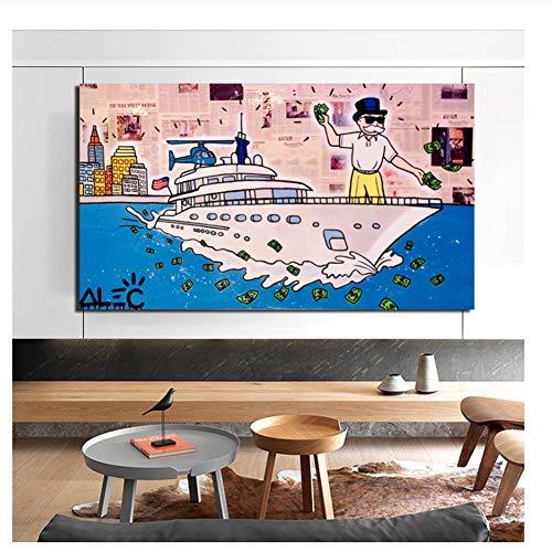 nr ALEC Monopoly Wolf der Wall Street Leinwand Malerei Drucke Wohnzimmer Home Decoration Moderne Wandkunst Ölgemälde Poster Bild-60x90cm Kein Rahmen