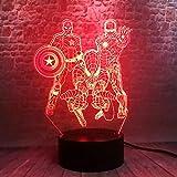 Illusionslicht Des Nachtlichts 3D Avengers Iron Man 3D Nachtlichter Led 7 Farbwechsel Licht Wunder...