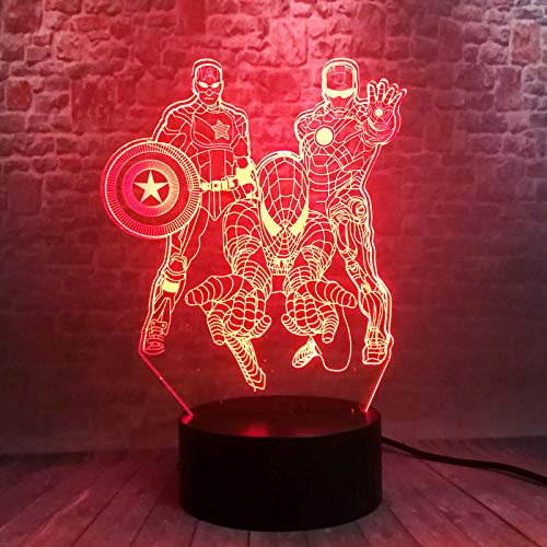 Illusionslicht Des Nachtlichts 3D Avengers Iron Man 3D Nachtlichter Led 7 Farbwechsel Licht Wunder Spiderman Captain America Figur Spielzeug