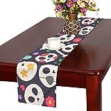QIAOLII Cráneo Set Flat Design Table Runner, Camino de Mesa de Cocina 16 x 72 Pulgadas para cenas, Eventos, decoración