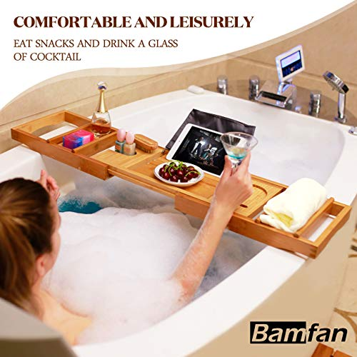 Bath Caddy Tray for Bathtub - Bamboo Adjustable Organi   zer Tray for Bathroom with Free Soap Dish Suitable for Luxury Spa or Reading