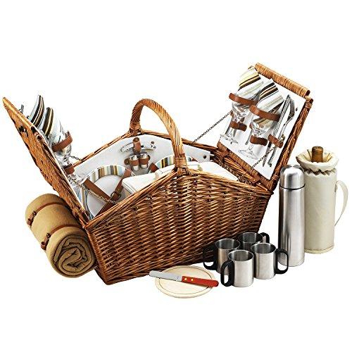 Picnic at Ascot Huntsman Picknickkorb im englischen Stil, mit Service für 4 Personen, Kaffeeservice und Decke, in den USA entworfen, montiert und qualitätsgeprüft
