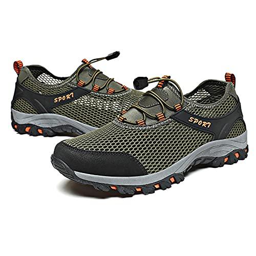 Zapatos de Ciclismo de Escalada de Cuero de Malla,Zapatos de Pesca de Trekking,Zapatillas de Deporte Transpirables para Hombres,Zapatos para Acampar al Aire Libre,Green-39