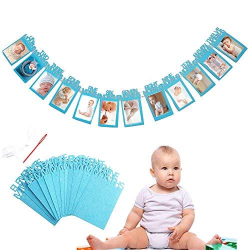 Bilderrahmen Banner zum zuerst Geburtstag, Baby 1-12 Monate Foto Girlanden aus Glitter Karte Papier für Babydusche Party Deko, Kinderzimmer Party Prop. (Blau)