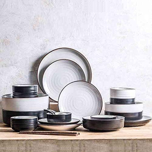 YILIAN canjvtaozhuang Palace Besteck Set kreative Gerichte gesetzt 6 Personen Keramik einfach Besteck Set Mode einfaches Geschenk (Farbe : SCHWARZ)