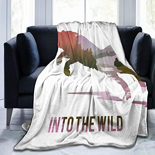 Ultra Soft Fleece Blanket for Adult Anti Fleece Blanket,Jumping Fox Silhouette with Woodland Wilderness Hunting Design Survival Theme,Soft Comfortable Sofa Throw Blanket 80'x60'