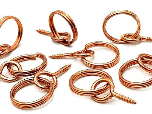 Bilder-Ringaufhänger mit Kupferschraube, Haken & Öse zum Einschrauben für Aufhängeschnur, 4 Stück