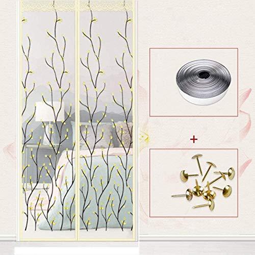 CHOUE Beige Tür Fliegengitter Magnet 140x240cm / 55x94inches Insektenschutzrollo Für Dachfenster für Balkon Schiebe Wohnzimmer Kinderzimmer,Ohne Bohren
