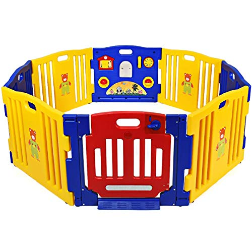Costzon Blue And Yellow 8-Panel Baby Playpen Activity Center