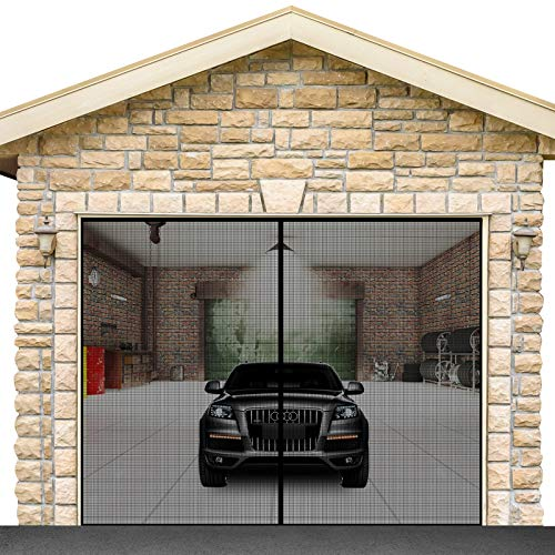Garage Door Screen for 1 car 8.3x7.15FT Garage Doors, with High Energy Magnets Screen Door Durable Fiberglass Hands Free Instant Heavy Bottom Magnetic Screen Net with 6 Strapping Tapes (Fit the 8x7FT)